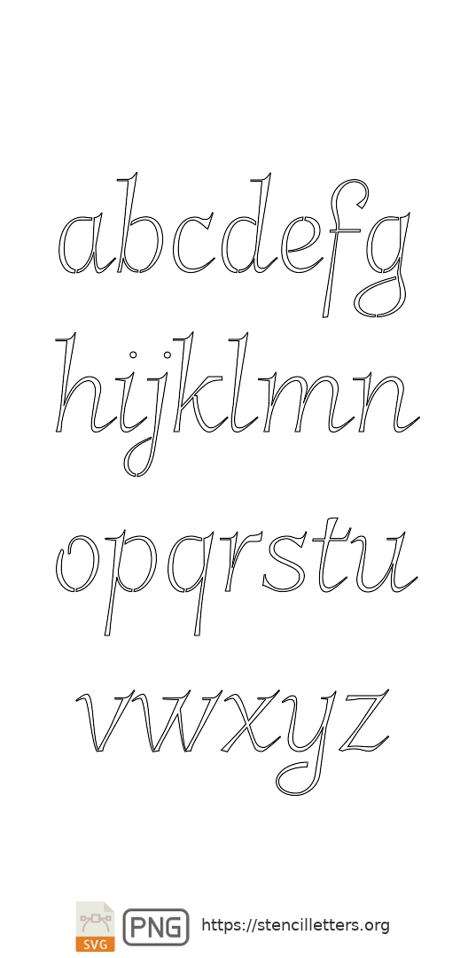 Spiral Italic lowercase letter stencils