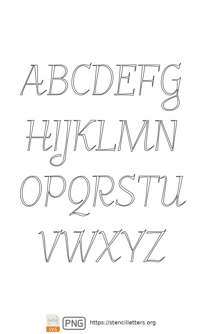 Spiral Italic uppercase letter stencils