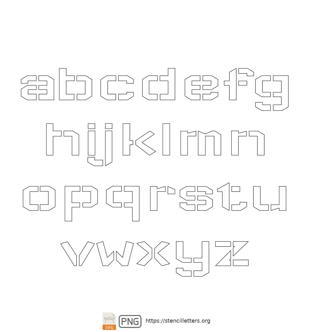 Square Block lowercase letter stencils