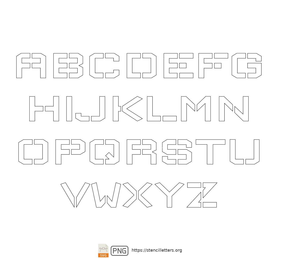 Square Block uppercase letter stencils