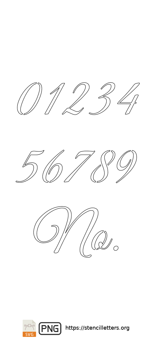 Stylish Calligraphy number stencils