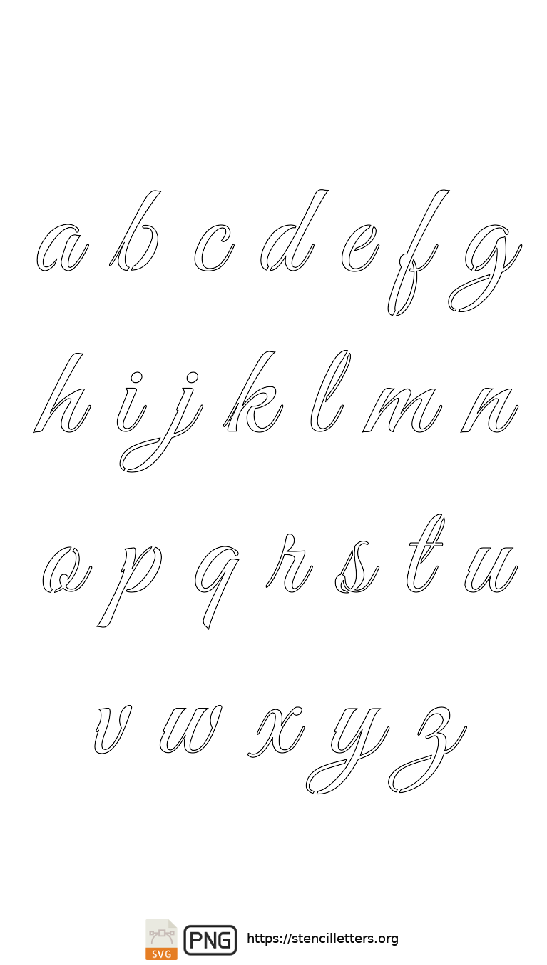 Stylish Calligraphy lowercase letter stencils