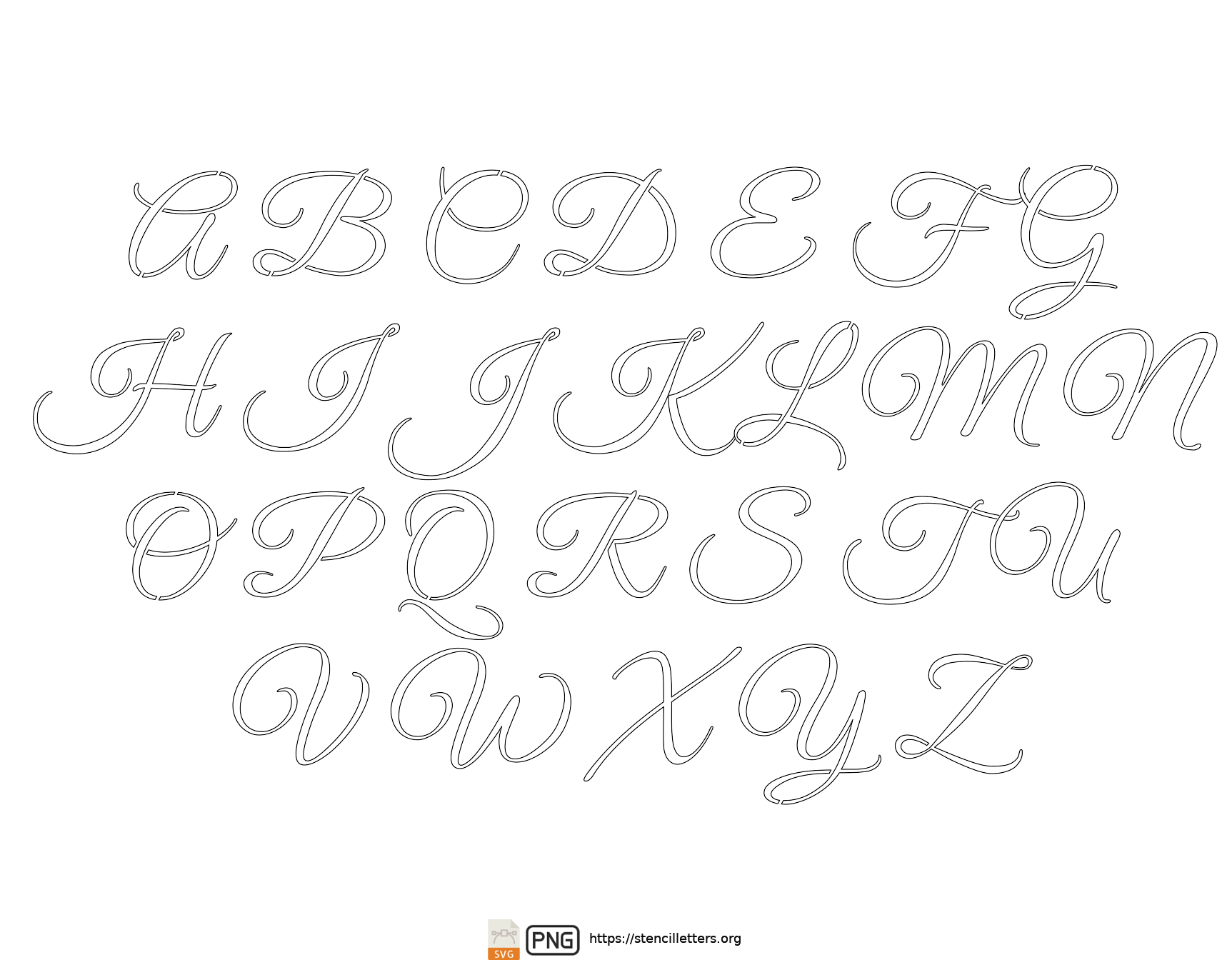 Stylish Calligraphy uppercase letter stencils