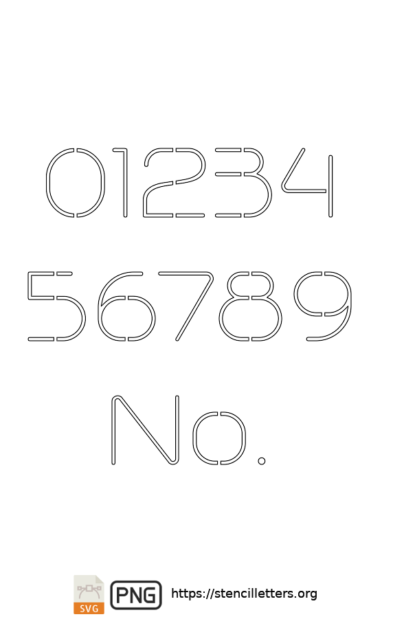 Stylish Thin Contemporary number stencils