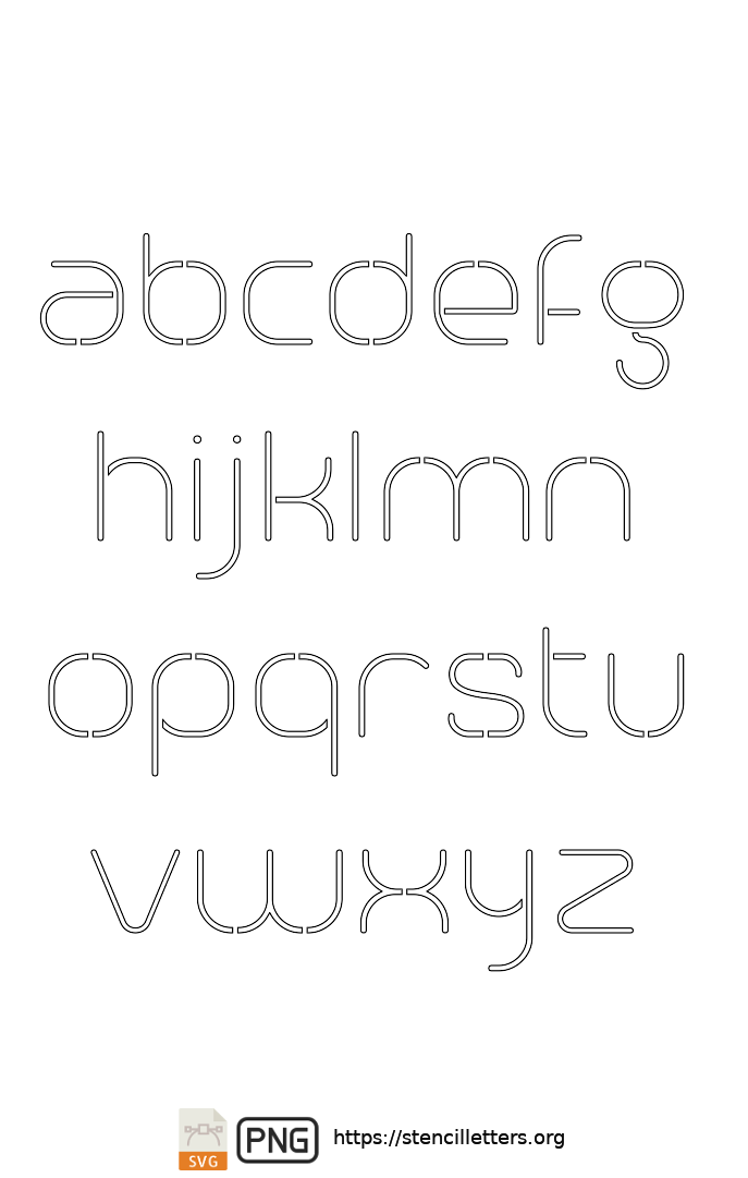 Stylish Thin Contemporary lowercase letter stencils