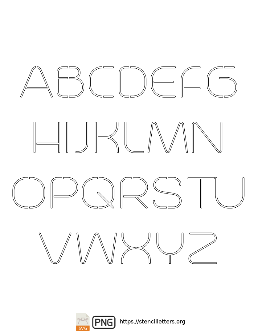 Stylish Thin Contemporary uppercase letter stencils