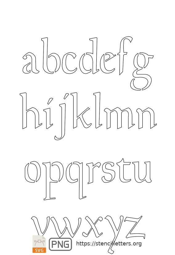The Gaelic Celtic lowercase letter stencils