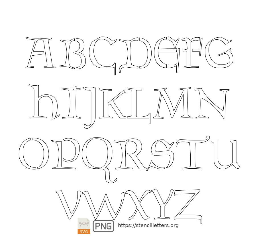 The Gaelic Celtic uppercase letter stencils