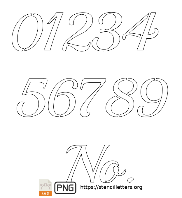 Vintage Calligraphy number stencils