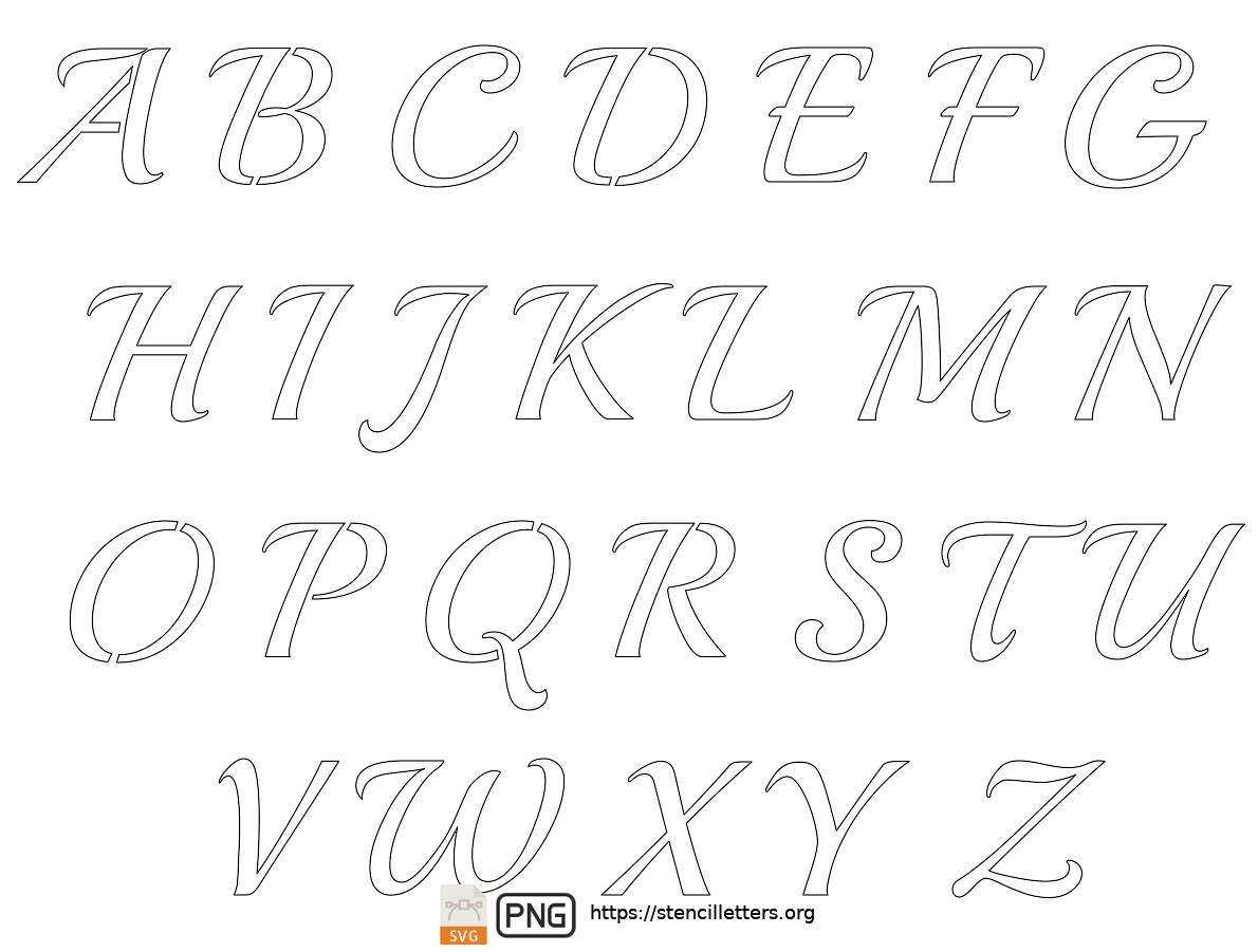 Vintage Calligraphy uppercase letter stencils