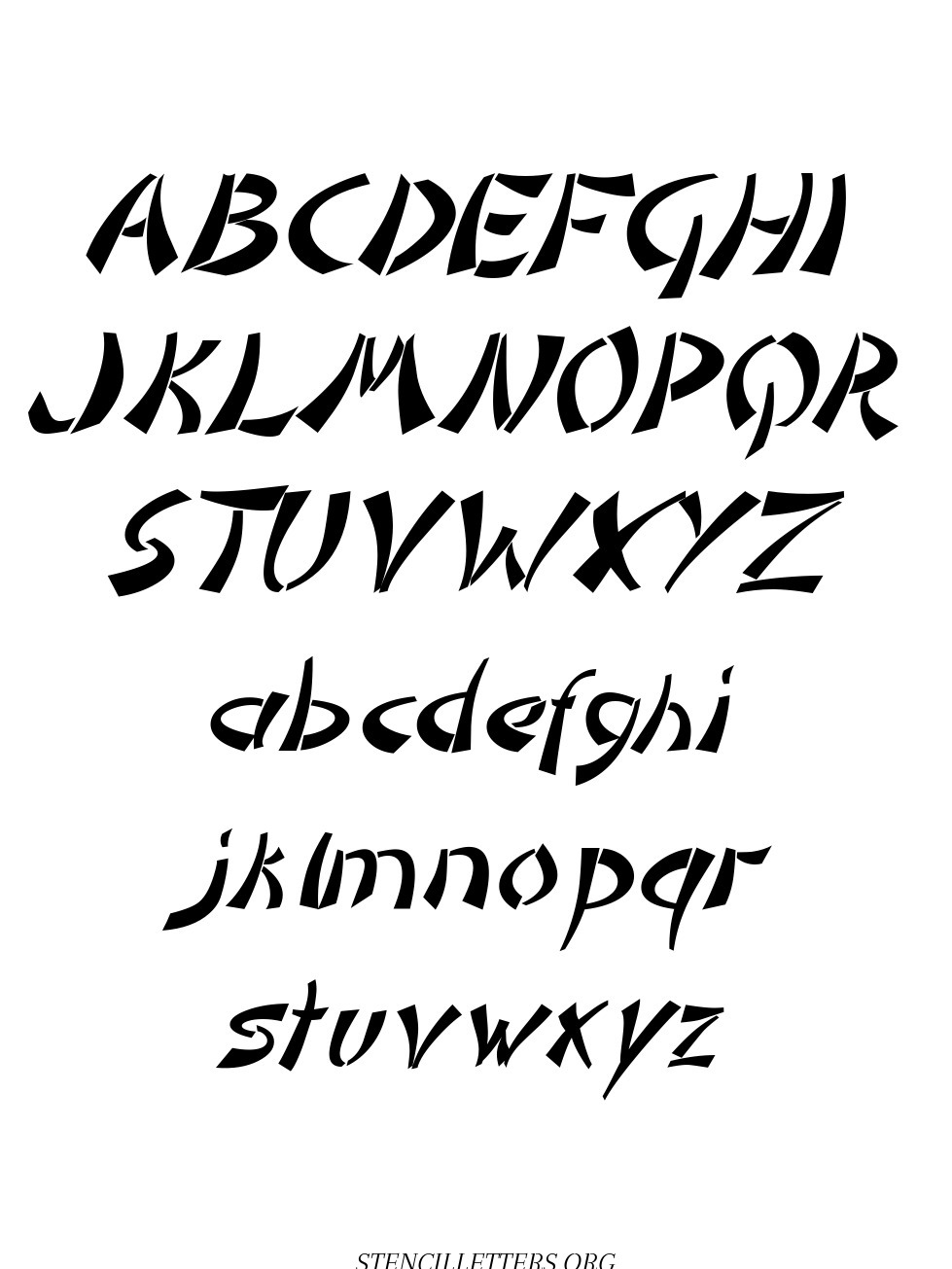 Asian Italic free printable letter stencils