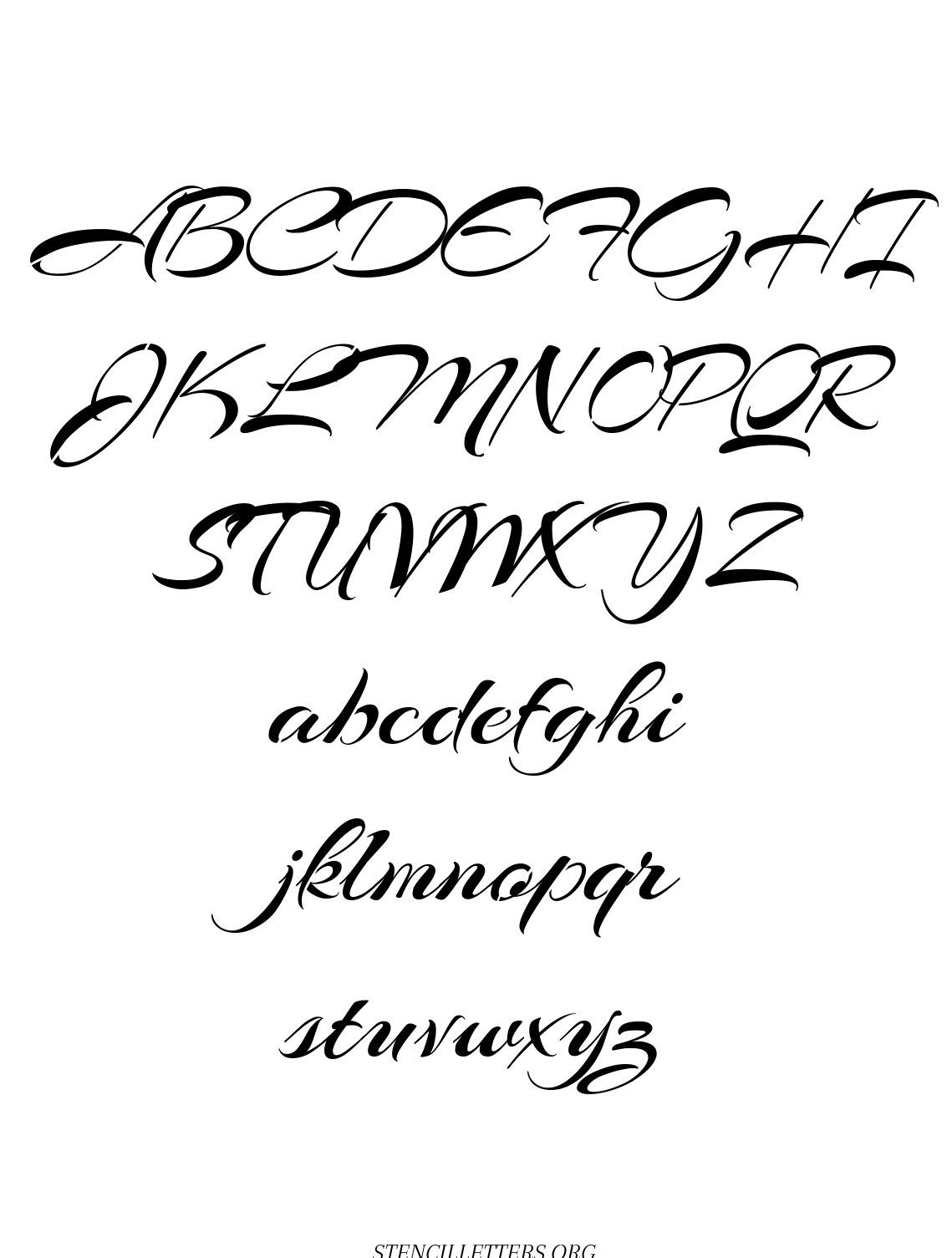 Brushed Cursive free printable letter stencils