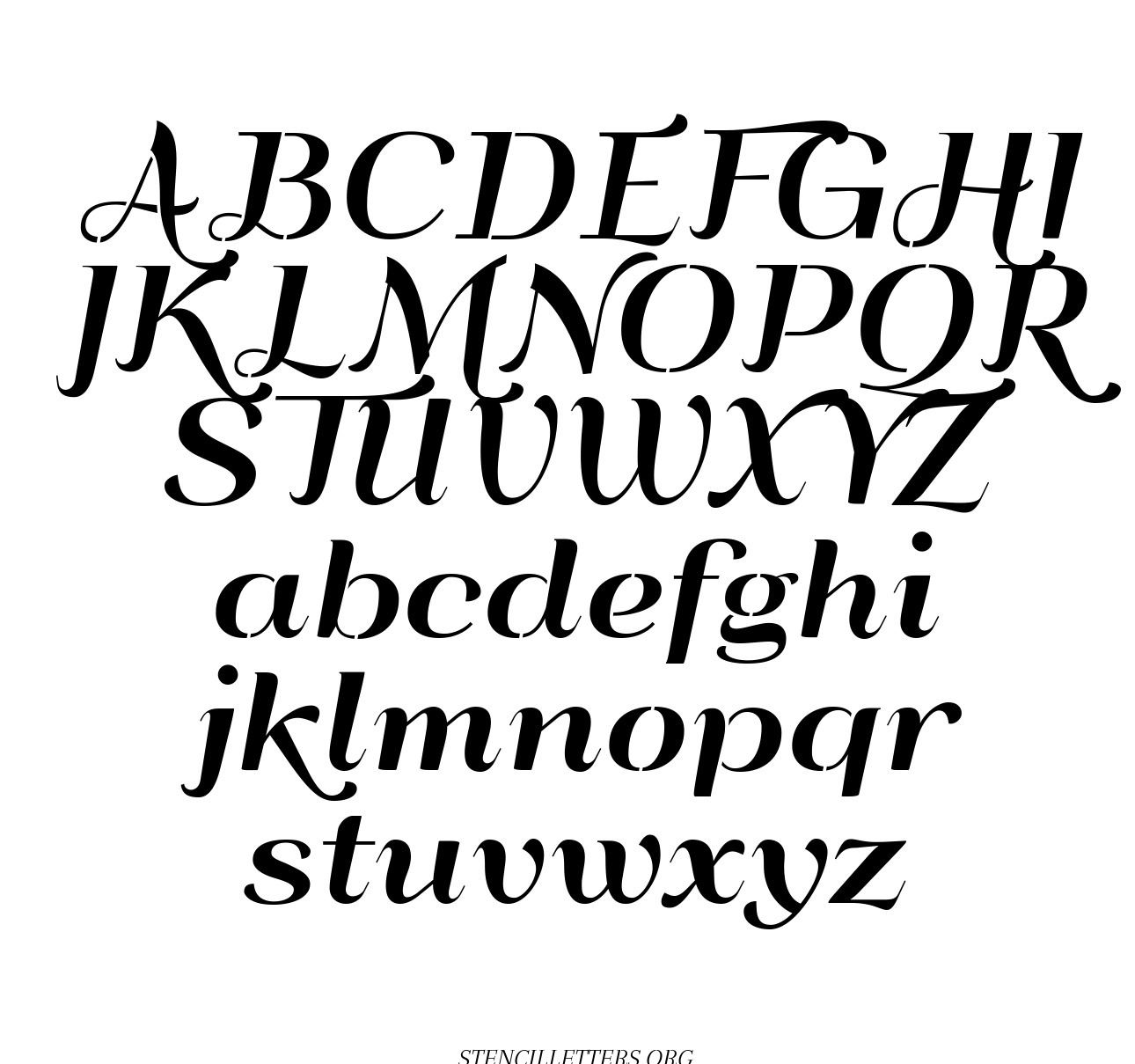 Deco Style Italic free printable letter stencils