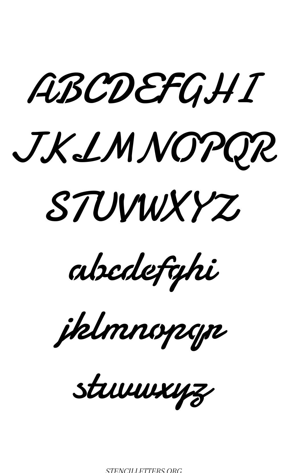 Display Script Cursive free printable letter stencils
