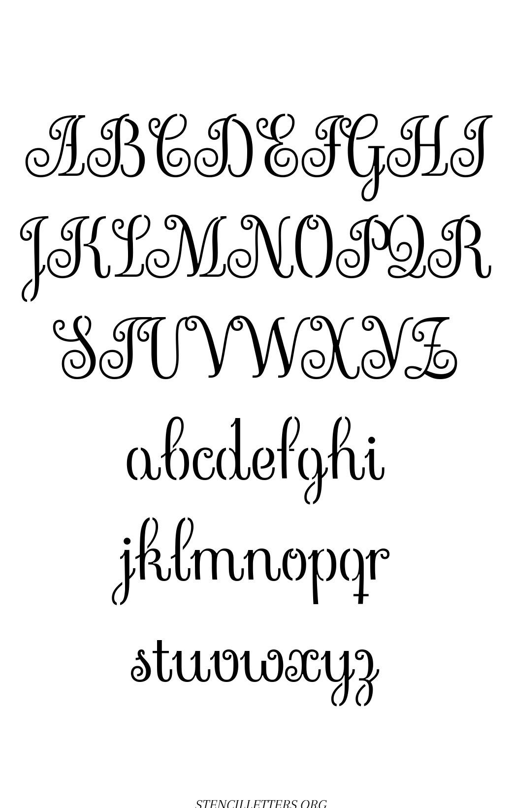 Exquisite Fine Cursive free printable letter stencils
