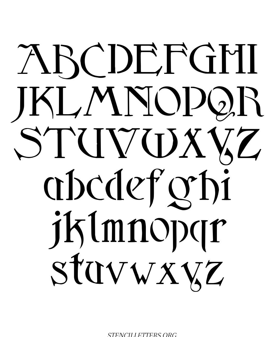 Fantasy Art Nouveau free printable letter stencils