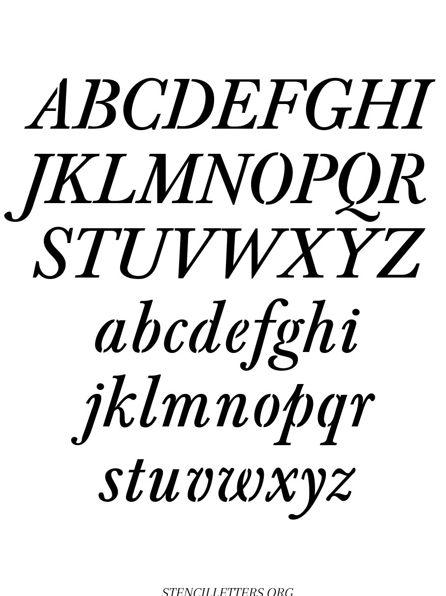 Formal Italic free printable letter stencils