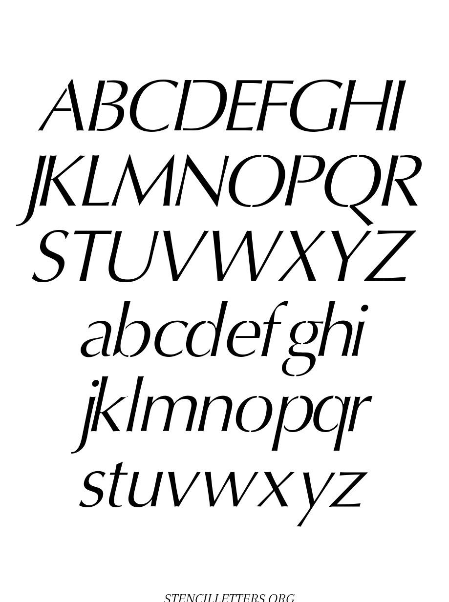 Headline Sans Italic free printable letter stencils