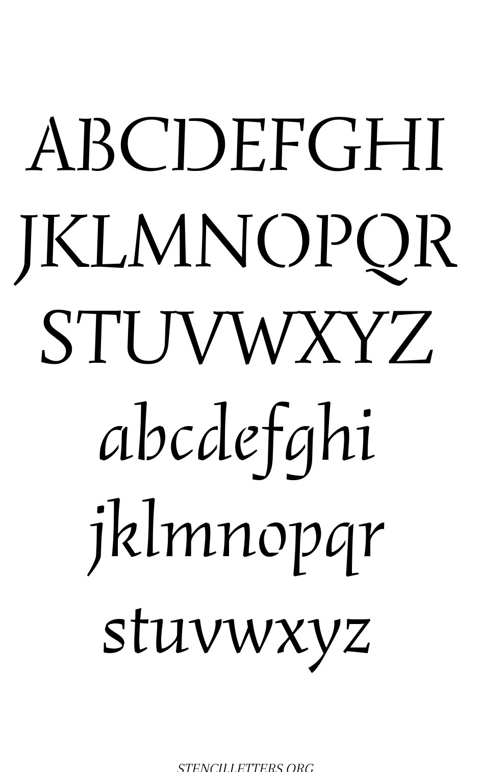 Humanist Italic free printable letter stencils