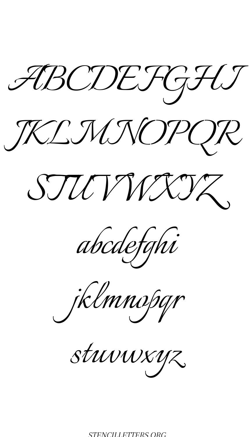 Joined Calligraphy free printable letter stencils