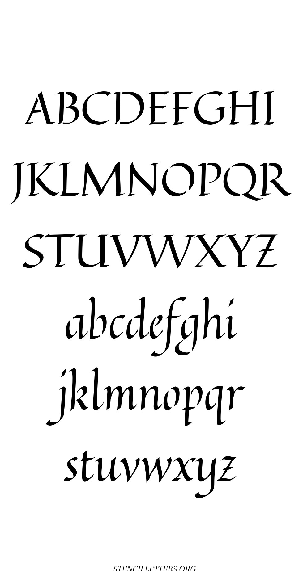 Longhand Calligraphy free printable letter stencils