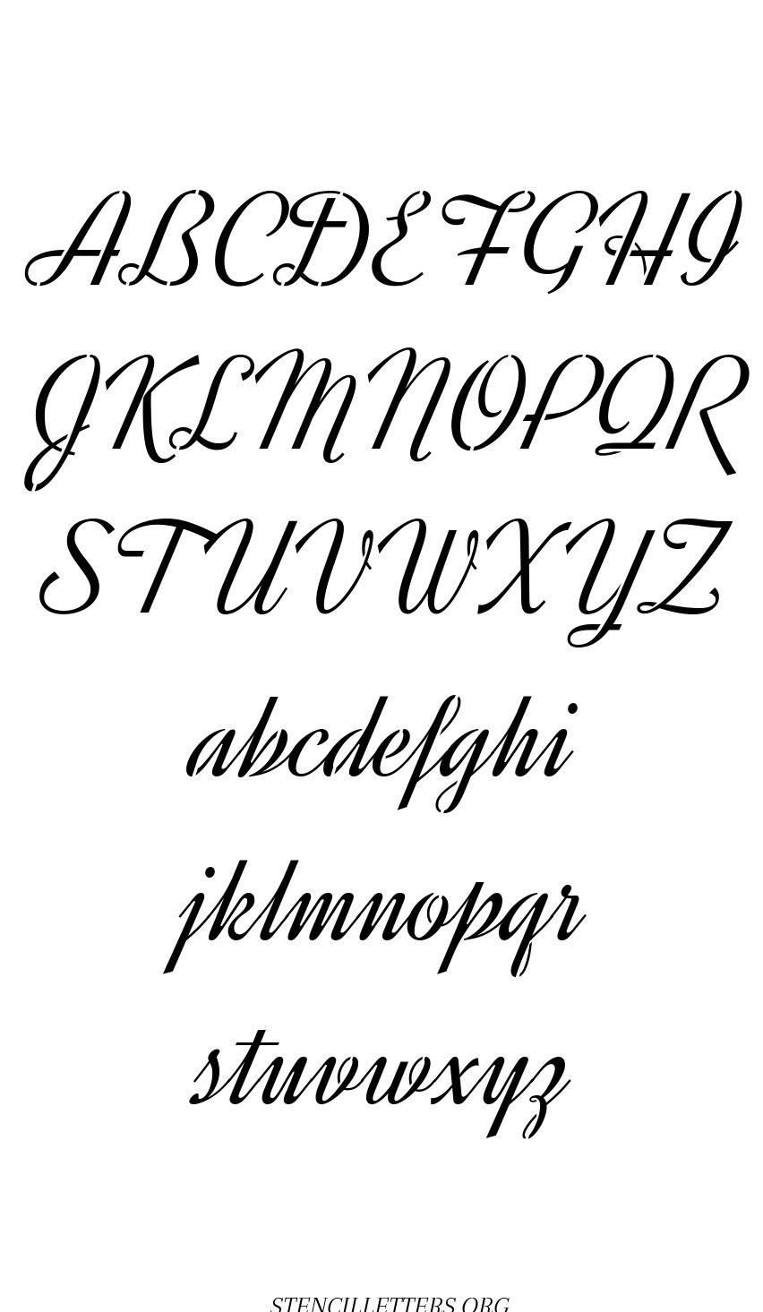 Retro Vintage Cursive free printable letter stencils