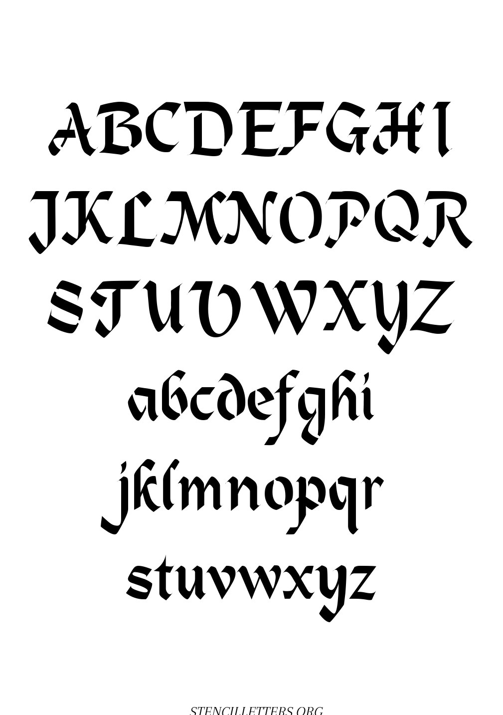 Victorian Gothic Calligraphy free printable letter stencils
