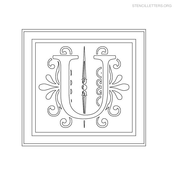 Stencil Letter Decorative U