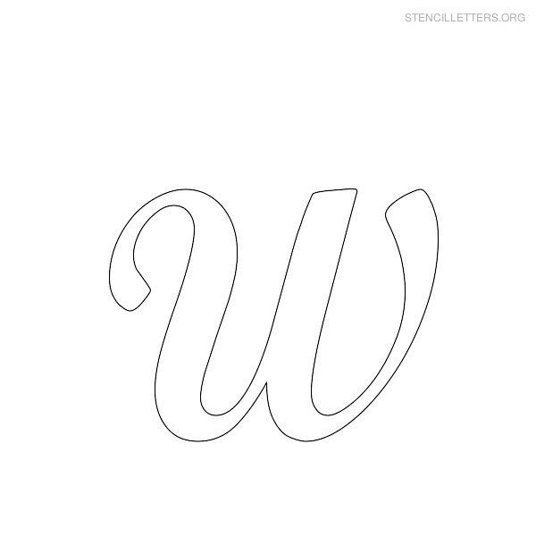 stencil letter cursive w