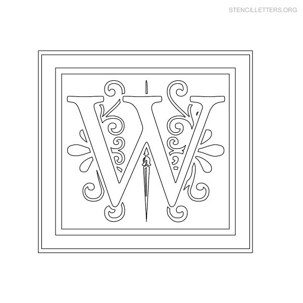 Stencil Letter Decorative W
