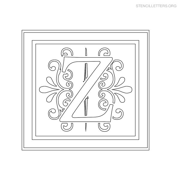 Stencil Letter Decorative Z